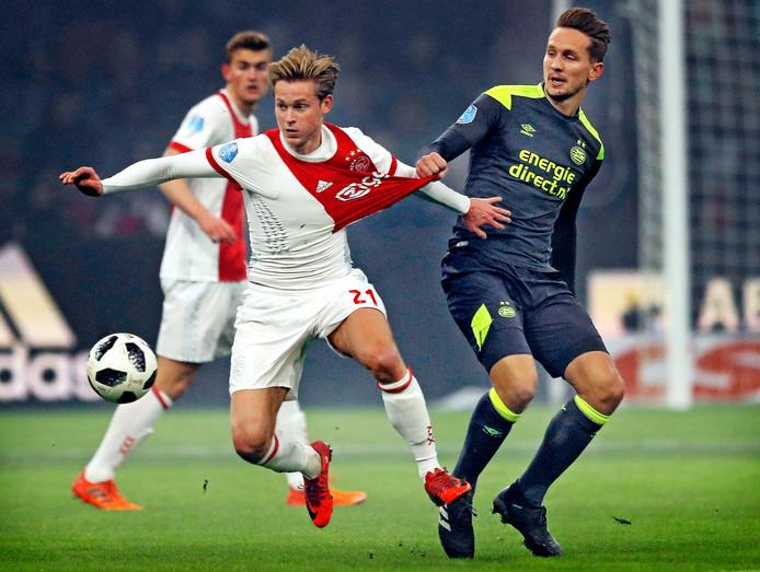 PSV'er Luuk de Jong probeert Ajacied Frenkie de Jong met oneigenlijke middelen tegen te houden.