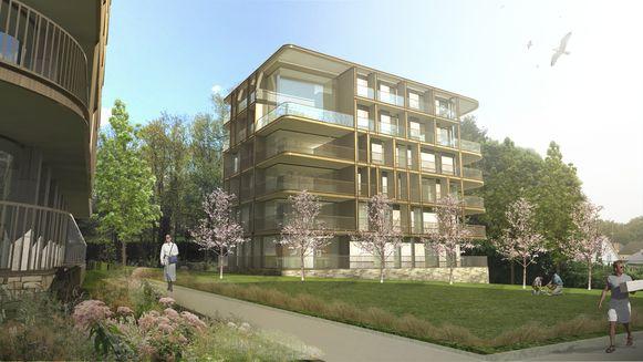 Een toekomstbeeld van het bouwproject 'Park Op Den Berg'.