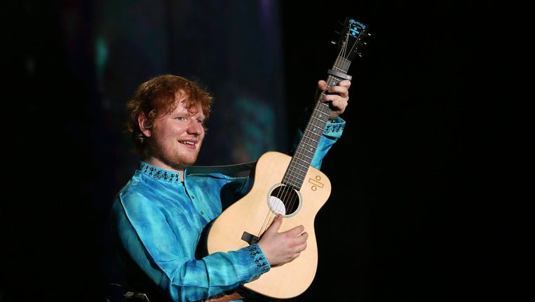 Ed Sheeran tijdens een concert in Mumbai in november 2017 Beeld epa
