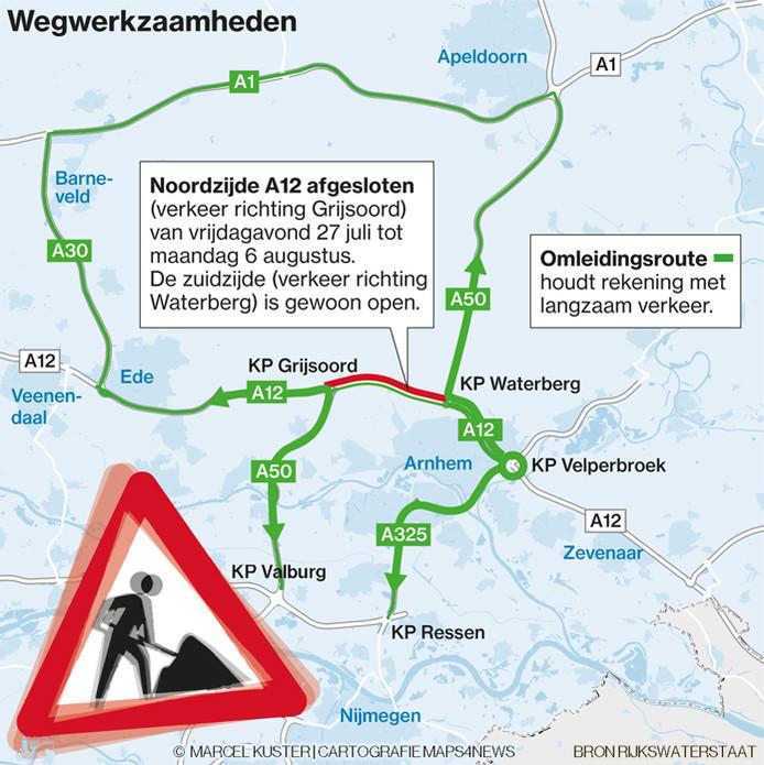De wegwerkzaamheden aan de A12 bij Arnhem en de omleidingsroute.