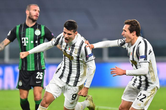 Alvaro Morata viert zijn winnende goal.