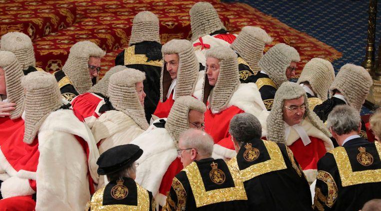 Leden van de House of Lords nemen plaats voor de troonrede.  Beeld AP