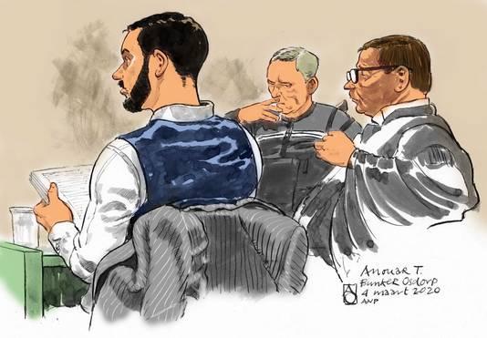 Rechtbanktekening van Anouar Taghi tijdens een eerdere inleidende zitting