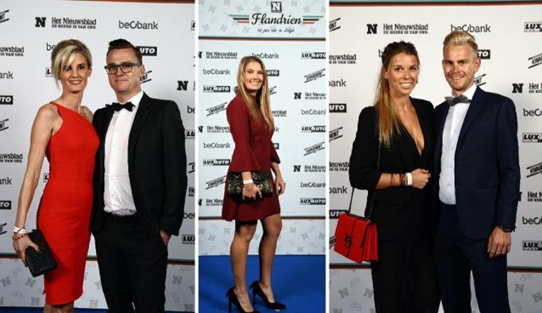 Van l  naar r: Nick Nuyens en Lynn, Evi Van Acker en Julien Vermote en Laura.