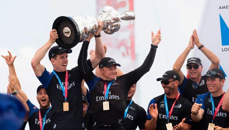 Emirates Team New Zealand heeft zijn zeiltrauma overwonnen. Beeld afp