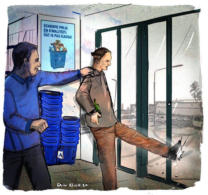 Rayen B. trapt een gat in de deur nadat hij wordt tegengehouden.