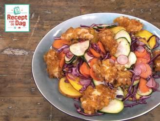 Recept van de dag: Kipnuggets met regenboogsalade
