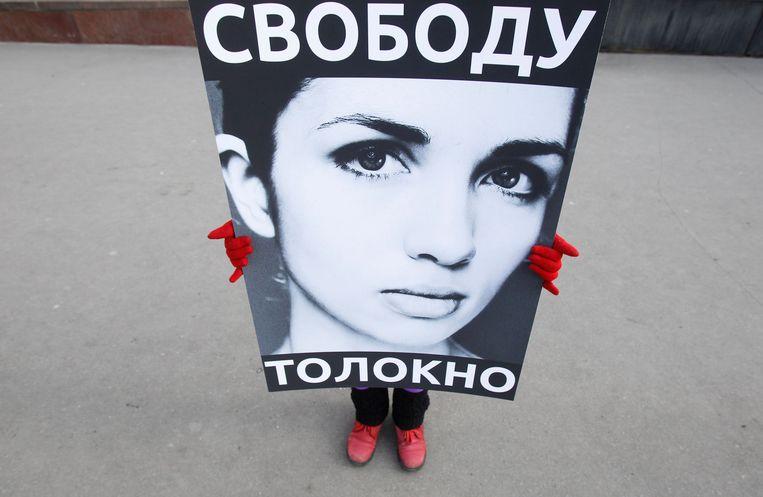 Demonstranten eisen de vrijlating van de twee vrouwen. Beeld REUTERS