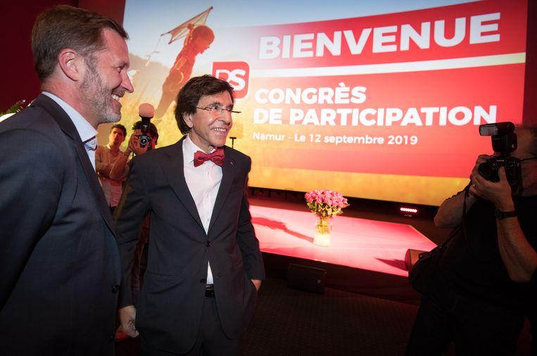 PS-kopstuk Paul Magnette met voorzitter Elio Di Rupo (Archiefbeeld).