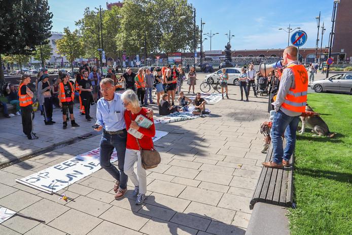 Het krakersprotest zondag in Nijmegen.