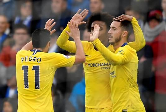 Eden Hazard en Pedro Rodriguez waren de doelpuntenmakers voor Chelsea.