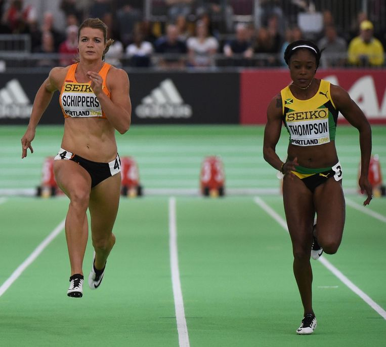 Dafne Schippers tijdens het IAAF World Indoor kampioenschap. Beeld afp