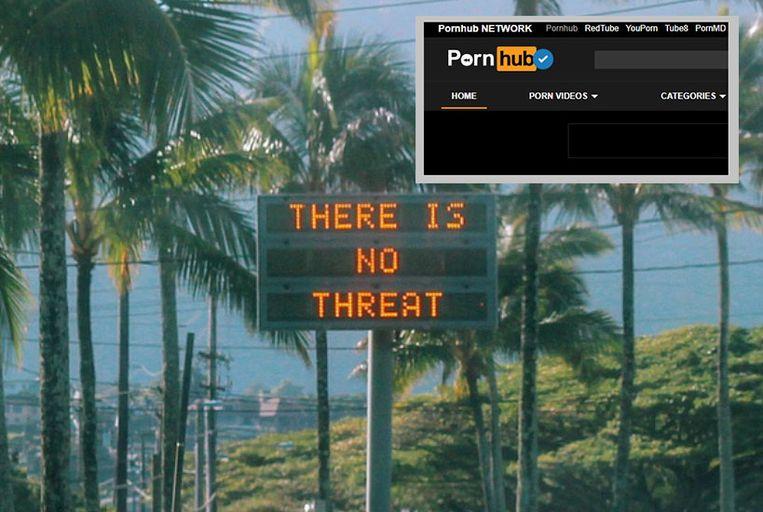 Op Hawaïaanse snelwegen verscheen zaterdagochtend de boodschap dat de raketdreiging loos alarm was. Inzet: Pornhub, 's werelds grootste pornosite.