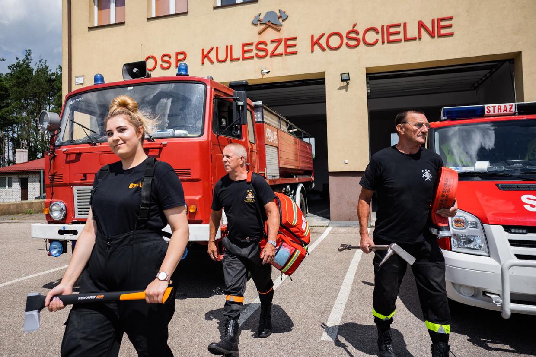 De brandweerkazerne van Kulesze Koscielne, het kloppend hart van het dorp.