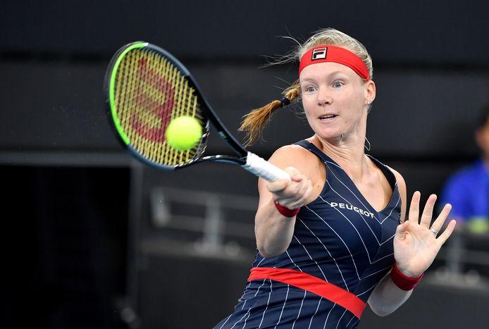 Kiki Bertens in haar verloren kwartfinalepartij tegen de Japanse Naomi Osaka op het toernooi van Brisbane, in de aanloop naar de Australian Open.