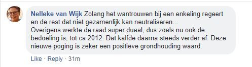 Reactie Nelleke van Wijk, die tot eind vorig jaar griffier van de Oisterwijkse gemeenteraad was