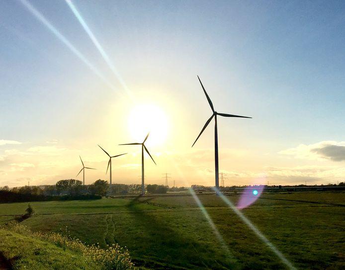 Archieffoto van de vier windmolens op Windpark Nijmegen, langs de snelweg A15.