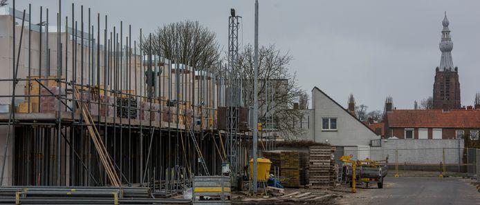 Archieffoto van de bouw van Gelderakkers in Hilvarenbeek.