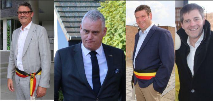 Burgemeesters (vlnr) Boudewijn Herbots, Christophe De Graef, Hans Vandenberg en Gino Debroux hebben hun twijfels bij de nieuwe referentieregio's.