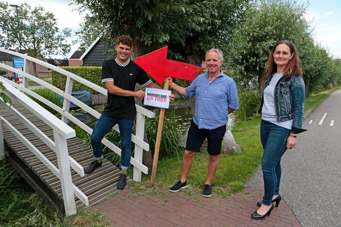 De organisatoren van 'Noordeloos on Tour', vlnr: Freek Wallaard, Thijs van der Wal en Esther den Besten.
