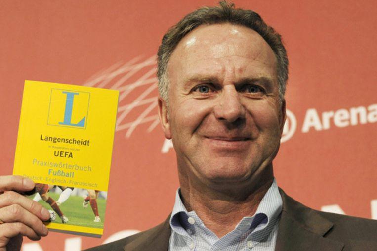 Karl-Heinz Rummenigge, de kersverse eerste voorzitter van de ECA, tijdens de presentatie van een voetbalwoordenboek op 7 mei. Foto AP Beeld