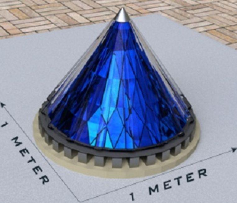 Een zonnepiramide heeft één vierkante meter nodig. Beeld Solarphasec