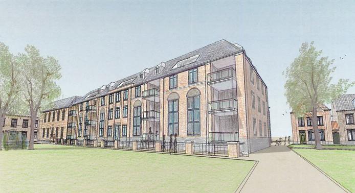 Het nieuwbouwcomplex bij het klooster, met daarin 15 appartementen met uitzicht op de tuin. Illustratie 7th Heaven Gemert