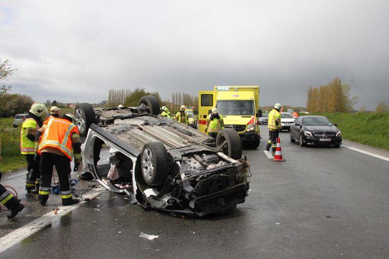 De wagen van Pysson belandde twee jaar geleden op zijn dak op de A19.