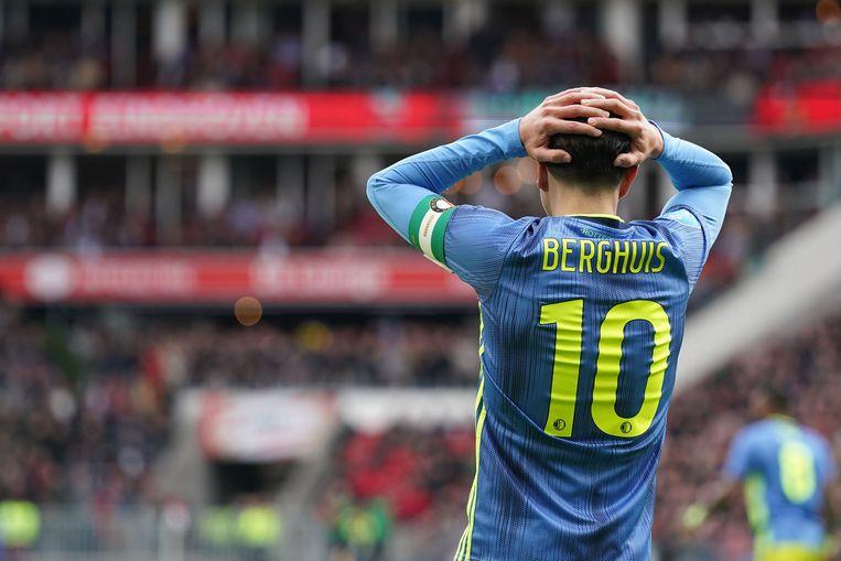 Feyenoorder Steven Berghuis baalt van een gemiste kans. Beeld ANP Sport