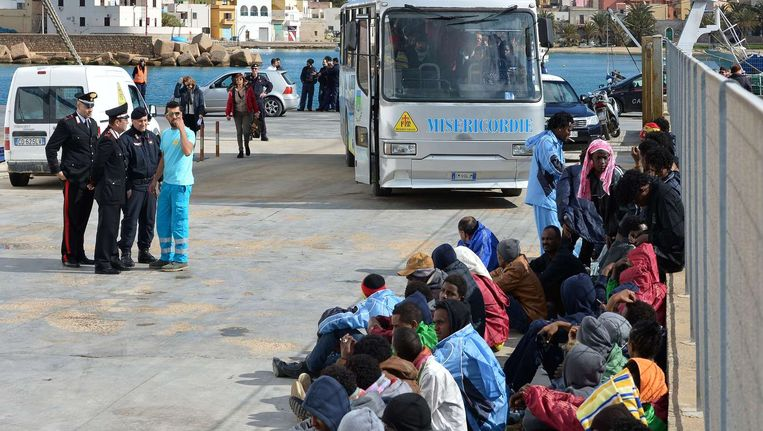De haven van Lampedusa, foto genomen in februari. Beeld afp