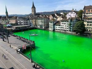Des écologistes colorent une rivière en vert à Zürich