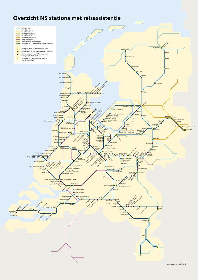 Stations waar de reisassistentie al aanwezig is en waar dat nog gebeurt. Beeld NS
