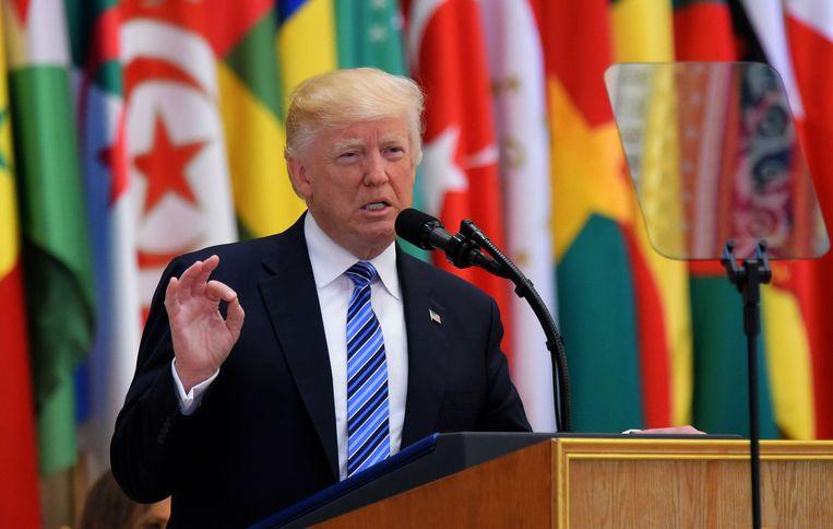 President Trump tijdens zijn toespraak.  Beeld AFP