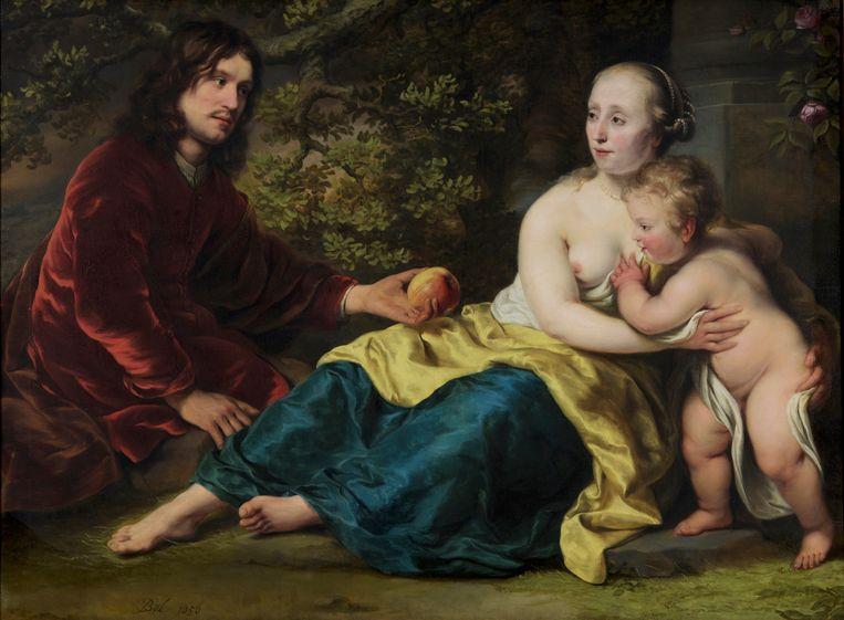 Ferdinand Bol, Portret van Wigbold Slicher en Elisabeth Spiegel als Paris en Venus (1656).  Beeld Jorgen M. Snoep / Dordrechts Museum