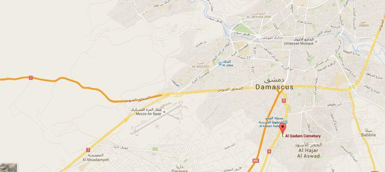 Qadam ligt slechts vier kilometer van het centrum van Damascus, waar zich onder meer de beroemde Omayyad moskee (zie kaart) bevindt. Beeld Google Maps