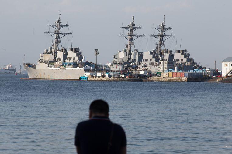 Amerikaanse marineschepen in Japan. Beeld photo_news