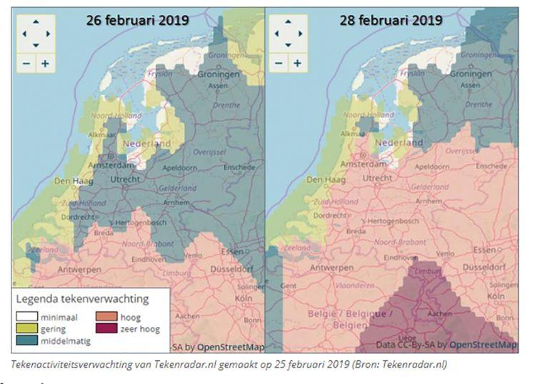De tekenverwachting volgens Tekenradar.nl: in ons land staat de verwachte tekenactiviteit de komende dagen op 'hoog tot zeer hoog'.