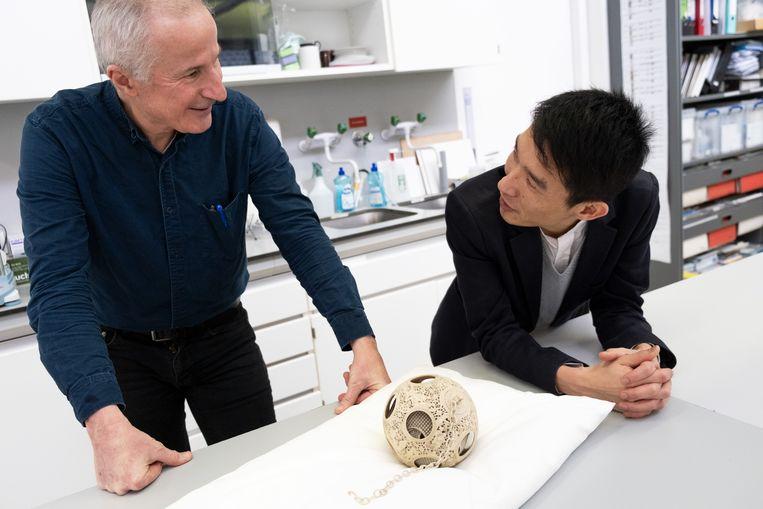 Informaticus Robert van Liere van het Centrum Wiskunde & Informatica (CWI) en Ching-Ling Wang, conservator Chinese kunst bij het Rijksmuseum met de gescande puzzelbal. Beeld Sabine Van Wechem