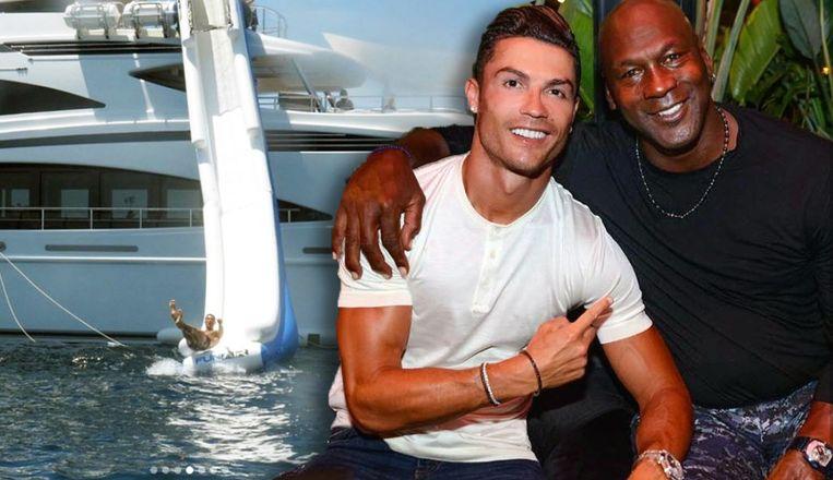 Links: Ronaldo glijdt het water in, rechts: de Portugees met Michael Jordan.