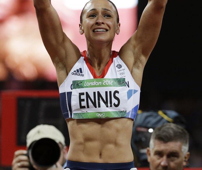 De buikspieren van atlete Jessica Ennis.