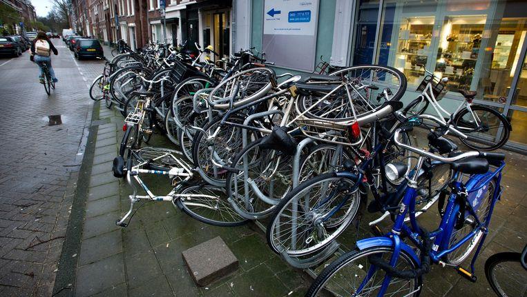 Overlast van fietsen in de Jan Steenstraat Beeld Klaas Fopma