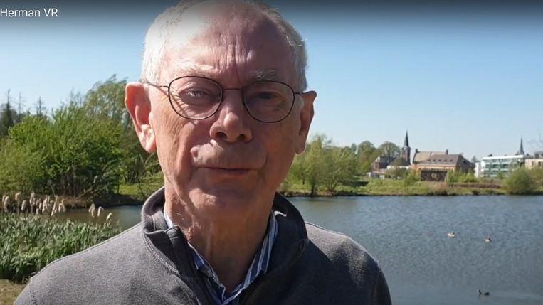 Ereburger Herman Van Rompuy spreekt de Rodenaren moed in tijdens een videoboodschap.