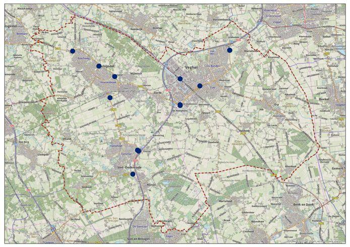De plekken waar de 52 banieren van de gemeente  Meierijstad komen te staan.