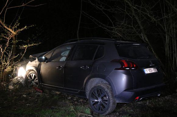 De wagen kwam tegen een boom terecht in het Osbroek natuurgebied.