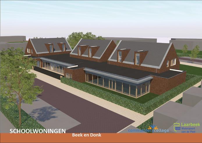 De zes schoolwoningen bij het Commanderij College in Beek en Donk die in augustus 2018 gereed moeten zijn. Illustratie Bonnemayer Architecten