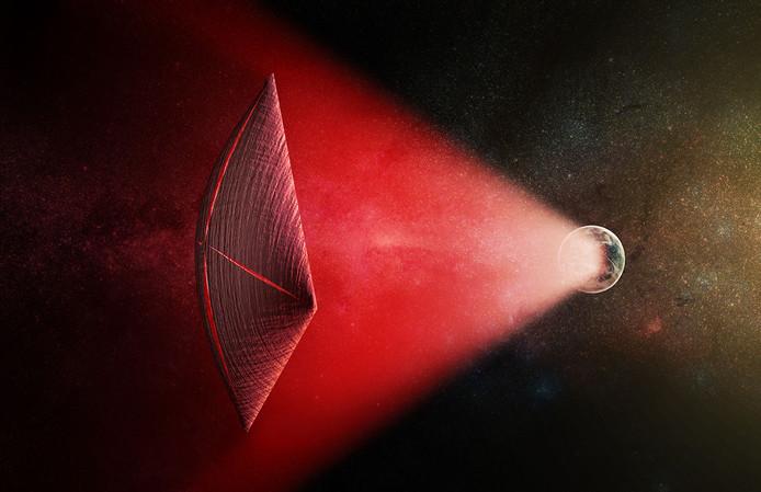 Impressie van een zonnezeil dat wordt aangedreven door radioflitsen.
