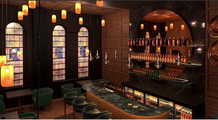 Een impressie van de bar in het nieuwe hotel