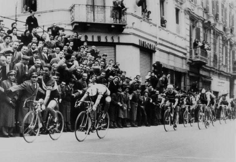 Rik Van Looy bij zijn zege in Milaan-Sanremo in 1958.