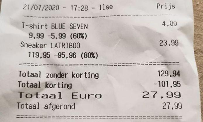 Le ticket de caisse d'Evelien V. est également passé d'un total à trois chiffres à un total à deux chiffres.