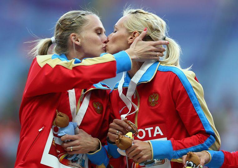 Kseniya Ryzhova en Yulia Gushchina in 2013 bij het WK atletiek Beeld getty